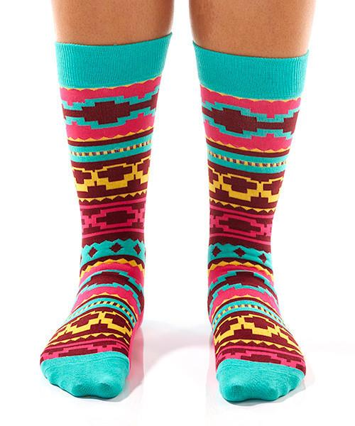 Colourful Aztec Women's Crew Socks Model Image Front | Yo Sox Canada
