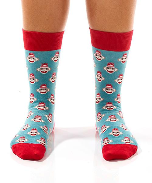 Sock Monkey Heads Women's Crew Socks Model Image Front | Yo Sox Canada
