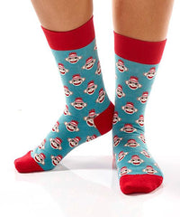 Sock Monkey Heads Women's Crew Socks Model Image Side | Yo Sox Canada