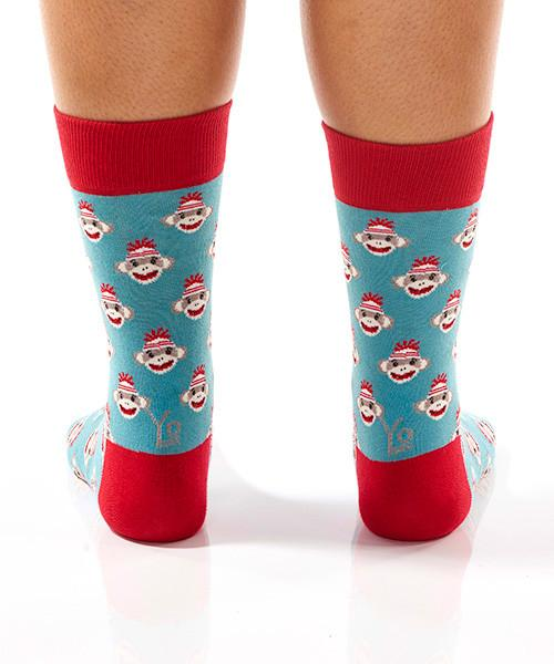 Sock Monkey Heads Women's Crew Socks Model Image Back | Yo Sox Canada