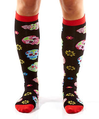 Psychedelic Skulls Women's Knee-High Socks Model Image Front | Yo Sox Canada