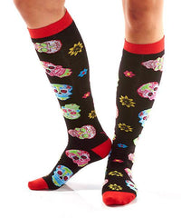 Psychedelic Skulls Women's Knee-High Socks Model Image Side | Yo Sox Canada