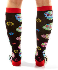 Psychedelic Skulls Women's Knee-High Socks Model Image Back | Yo Sox Canada