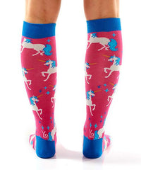 Unicorn Women's Knee-High Socks Model Image Back | Yo Sox Canada