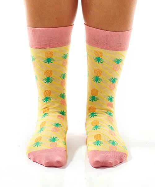 Pineapple Delight Women's Crew Socks Model Image Front | Yo Sox Canada