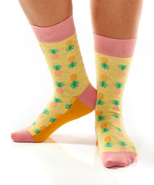 Pineapple Delight Women's Crew Socks Model Image Side | Yo Sox Canada