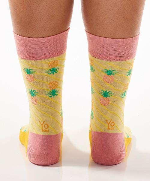 Pineapple Delight Women's Crew Socks Model Image Back | Yo Sox Canada