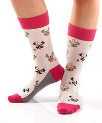 Pugs Women's Crew Socks Model Image Side | Yo Sox Canada