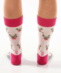 Pugs Women's Crew Socks Model Image Back | Yo Sox Canada