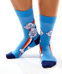 Livin' The Dream Women's Crew Socks Model Image Side | Yo Sox Canada