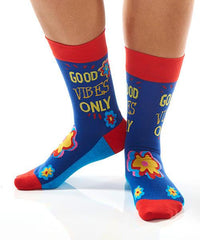 Godo Vibes Women's Crew Socks Model Image Side | Yo Sox Canada