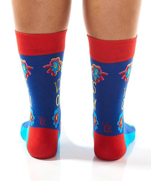 Godo Vibes Women's Crew Socks Model Image Back | Yo Sox Canada