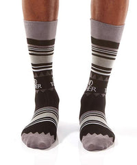 Black Dots Men's Crew Socks Model Image Front | Stand Together Collection | Yo Sox Canada
