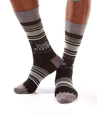Black Dots Men's Crew Socks Model Image Side | Stand Together Collection | Yo Sox Canada