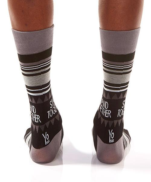 Black Dots Men's Crew Socks Model Image Back | Stand Together Collection | Yo Sox Canada