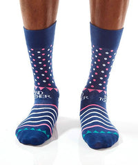 Blue Dots Men's Crew Socks Model Image Front | Stand Together Collection | Yo Sox Canada