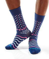 Blue Dots Men's Crew Socks Model Image Side | Stand Together Collection | Yo Sox Canada