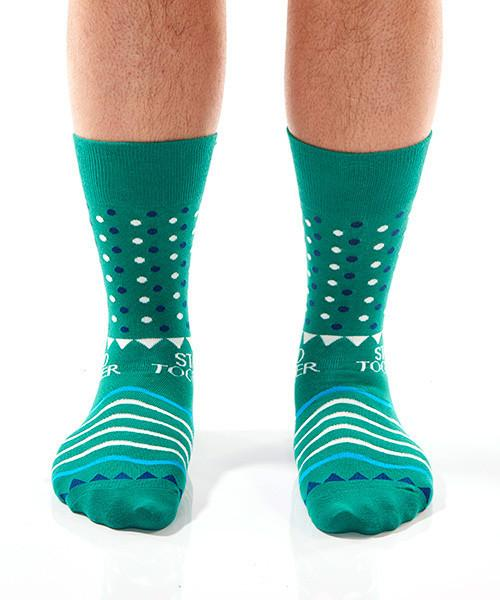 Green Dots Men's Crew Socks Model Image Front | Stand Together Collection | Yo Sox Canada