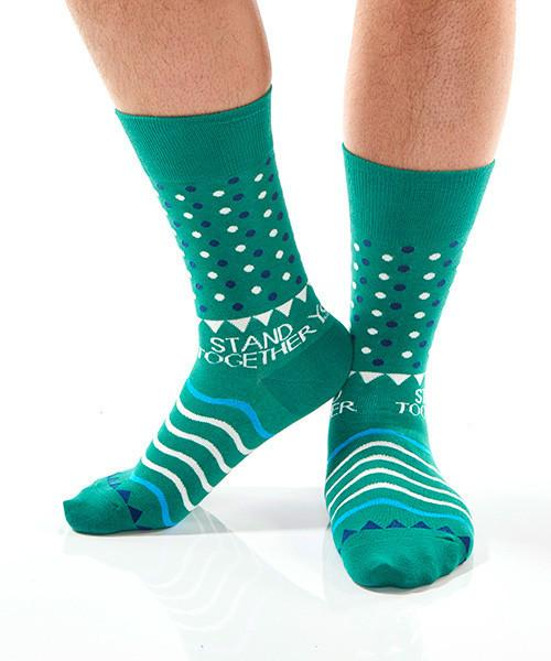 Green Dots Men's Crew Socks Model Image Side | Stand Together Collection | Yo Sox Canada