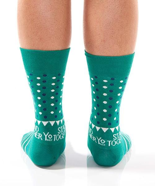 Green Dots Men's Crew Socks Model Image Back | Stand Together Collection | Yo Sox Canada
