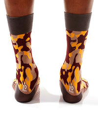 Camouflaged Men's Crew Socks Model Image Back | Pillar Collection | Yo Sox Canada