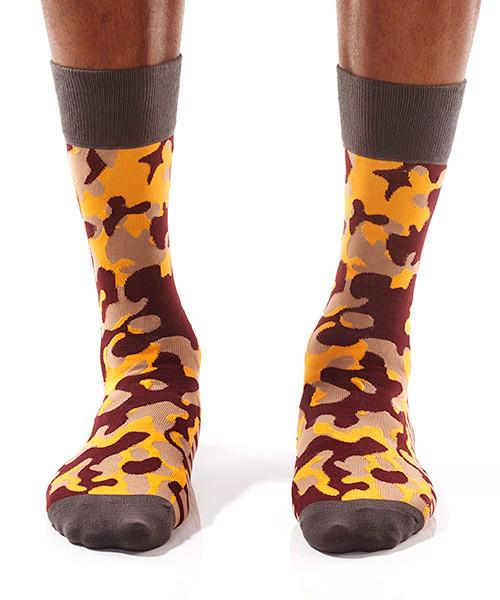 Camouflaged Men's Crew Socks Model Image Front | Pillar Collection | Yo Sox Canada