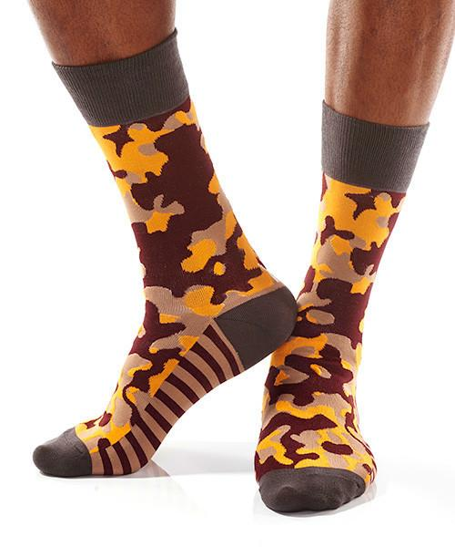 Camouflaged Men's Crew Socks Model Image Side | Pillar Collection | Yo Sox Canada