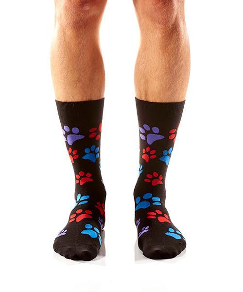 Paw Prints Men's Crew Socks Model Image Front | Yo Sox Canada
