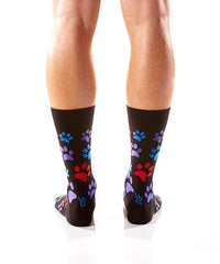Paw Prints Men's Crew Socks Model Image Back | Yo Sox Canada