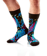 Graffiti Men's Crew Socks Model Image Side | Patrick Patterson Collection | Yo Sox Canada