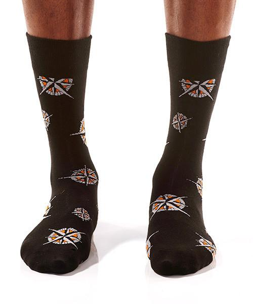 Compass Men's Crew Socks Model Image Front | Pillar Collection | Yo Sox Canada
