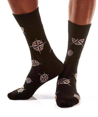 Compass Men's Crew Socks Model Image Side | Pillar Collection | Yo Sox Canada