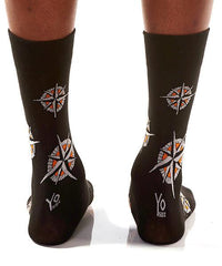 Compass Men's Crew Socks Model Image Back | Pillar Collection | Yo Sox Canada