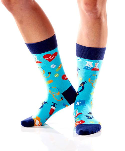 Get Well Women's Crew Socks Model Image Side | Yo Sox Canada