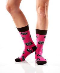Say Cheese Women's Crew Socks Model Image Side | Yo Sox Canada