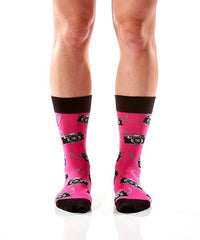 Say Cheese Women's Crew Socks Model Image Front | Yo Sox Canada