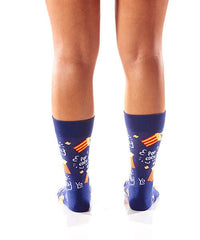 Pop Pop Women's Crew Socks Model Image Back | Yo Sox Canada