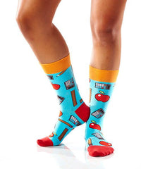 School Kit Women's Crew Socks Model Image Side | Yo Sox Canada