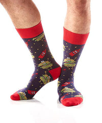 Hamburglers Men's Crew Socks Model Image Side | Yo Sox Canada
