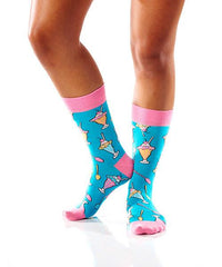 Sundae Funday Women's Crew Socks Model Image Side | Yo Sox Canada