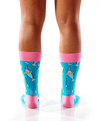 Sundae Funday Women's Crew Socks Model Image Back | Yo Sox Canada