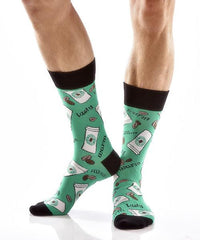 Coffee Break Men's Crew Socks Model Image Side | Yo Sox Canada