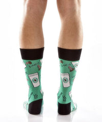 Coffee Break Men's Crew Socks Model Image Back | Yo Sox Canada