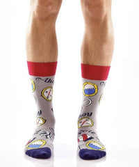 All Aboard Men's Crew Socks Model Image Front | Yo Sox Canada