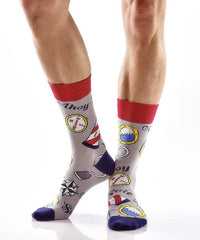 All Aboard Men's Crew Socks Model Image Side | Yo Sox Canada