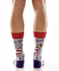 All Aboard Men's Crew Socks Model Image Back | Yo Sox Canada
