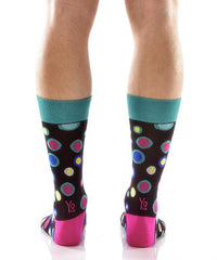 Dancing Dots Men's Crew Socks Model Image Back | Yo Sox Canada