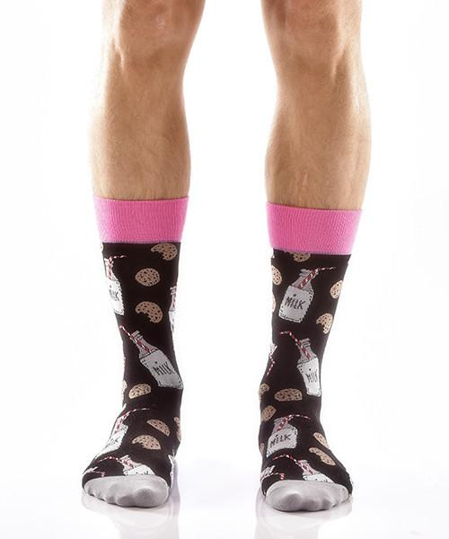Mike and Cookies for Him Men's Crew Socks Model Image Front | Yo Sox Canada