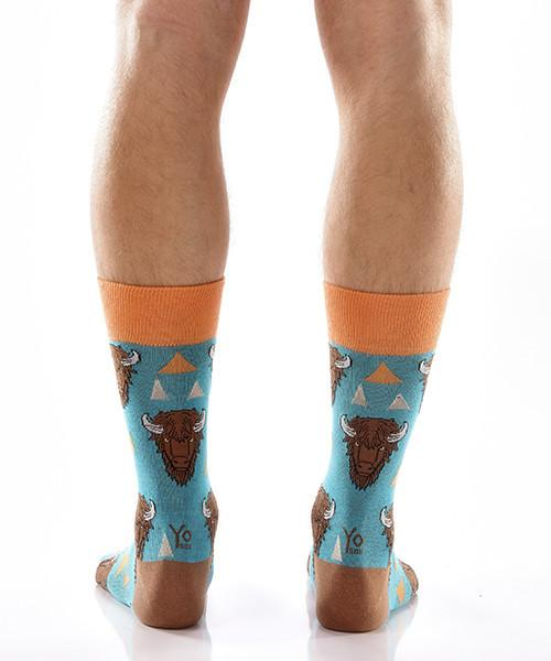 Wild Warrior Men's Crew Socks Model Image Back | Yo Sox Canada