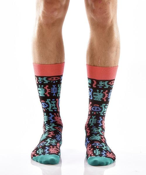 Hieroglyphics Men's Crew Socks Model Image Front | Yo Sox Canada